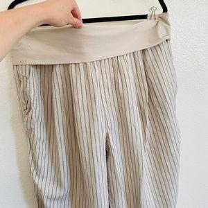 Anthropologie Foldover Pinstripe Linen Crop Pants
